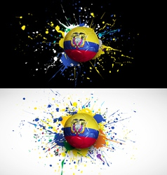 ecuador flag with soccer ball dash on colorful vector image vector image