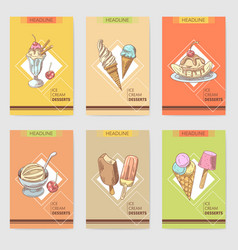 ice cream and desserts hand drawn cards brochure vector image vector image