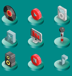 music color isometric icons vector image vector image