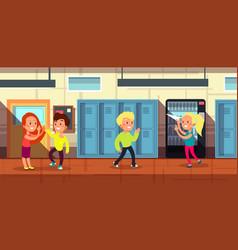 schoolchildren in school corridor at classroom vector image