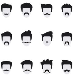 Set icons face with mustaches vector image