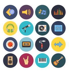 sixteen universal flat music icons vector image