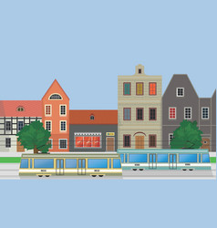 street of the city houses and trams vector image