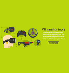 vr gaming tools banner horizontal concept vector image