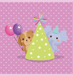 cute elephant and doggy sweet kawaii birthday card vector image