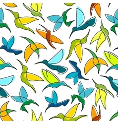 Flying hummingbird birds seamless pattern vector image