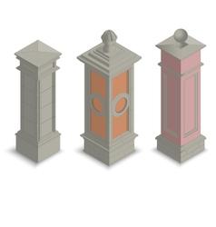 Gate pillars isometric vector image