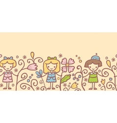 Girls with flowers horizontal seamless pattern vector image vector image
