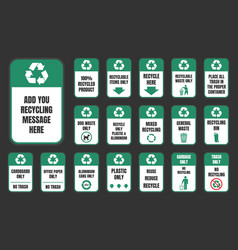 recycle stickers set vector image vector image