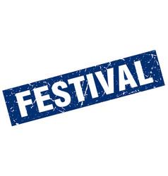 square grunge blue festival stamp vector image vector image