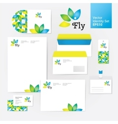 Yoga wellness flower corporate identity style set vector image vector image