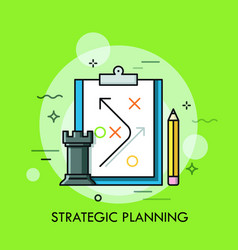 Rook chess piece pencil and strategic plan drawn vector