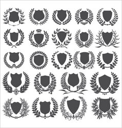shields and laurel wreath - collection vector image vector image