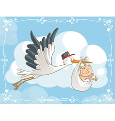 Stork with Baby Cartoon vector image