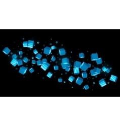Abstract Blue Cubes Dark Background vector image vector image