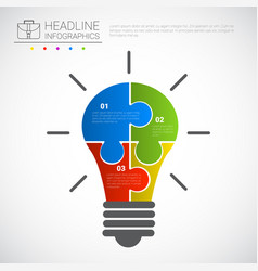 headline infographic design light bulb of puzzle vector image