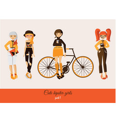 hipster cute girls isolated on background vector image vector image