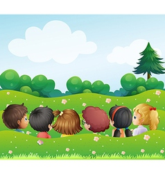 Kids chatting at the hills vector image