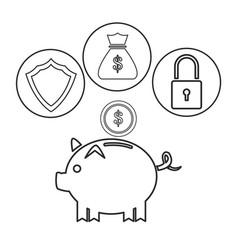 piggy dollar coin security bag money outline vector image vector image
