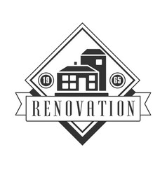 Repair and renovation service black and white sign vector