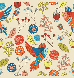 seamless bird floral pattern wallpaper vector image vector image