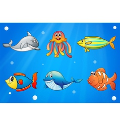 Six smiling sea creatures under the deep sea vector image vector image