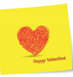 Valentine greetings with heart pencil vector