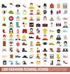 100 fashion school icons set flat style vector image