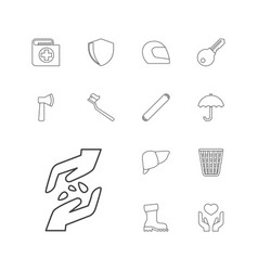 13 protection icons vector