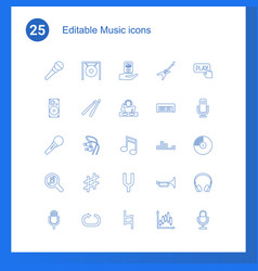 25 music icons vector image