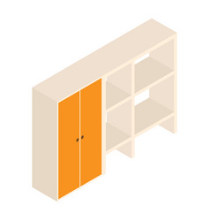 3d cupboard with shelves and design vector image