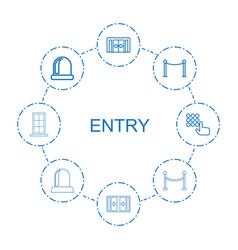 8 entry icons vector