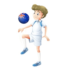 A boy using the ball designed with the flag of New vector