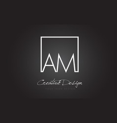 Am square frame letter logo design with black and vector