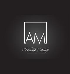 Am square frame letter logo design with black vector