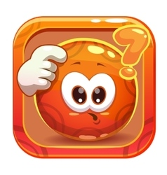 App icon with funny cute orange character vector