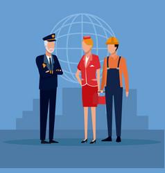 Aviation workers cartoons vector