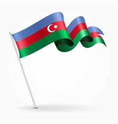 Azerbaijani pin wavy flag vector