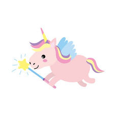 Beauty unicorn with wings and magic wand vector