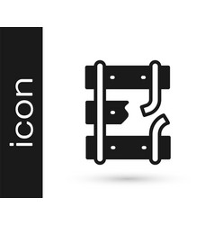 Black broken or cracked rails on a railway icon vector