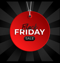 black friday sale tag red circle banner and the vector image
