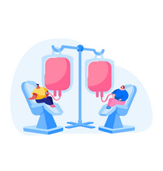 Blood donation concept characters donate vector