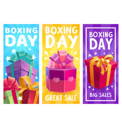 boxing day presents great sale promo gifts vector image