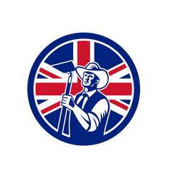 British organic farmer union jack flag icon vector