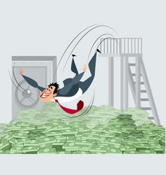 businessman bathing in money vector image