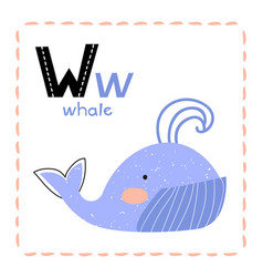 Cartoon alphabet letter w for whale for kids vector