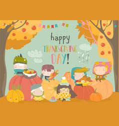 Cartoon children harvesting in autumn garden vector