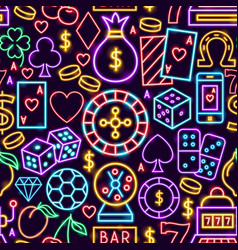 casino neon seamless pattern vector image