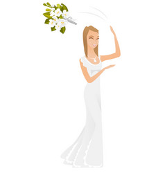 Caucasian bride tossing the bouquet of flowers vector