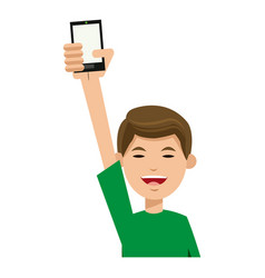 Character man young holding smartphone smiling vector